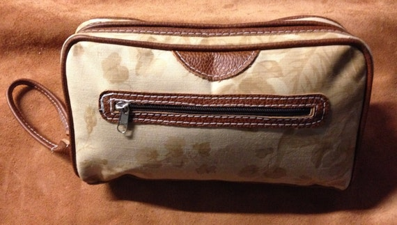 Hand Made Cosmetic , Travel WASH BAG / Beige Flower Italian Canvas and Tan Leather contrast  Trim
