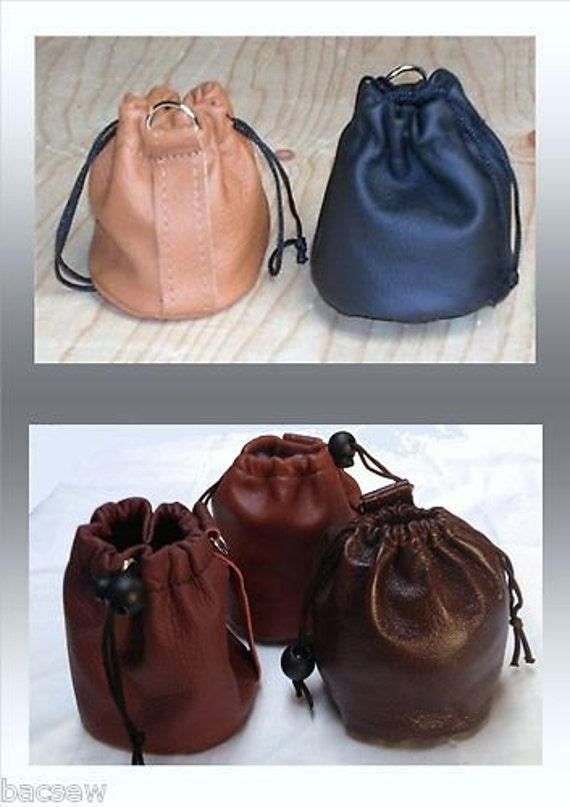 LEATHER Drawstring Purse/ Bag  / POUCH - BELT Loop or Wrist / New  /10  colours