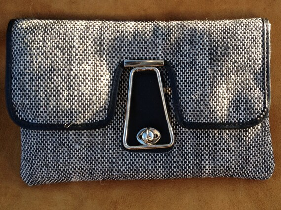 Stylish Black and  White TWEED  / Leather trim Tablet ,Ipad , CLUTCH , CASE , Retro Silver Turn button Ornamental catch / zip pocket