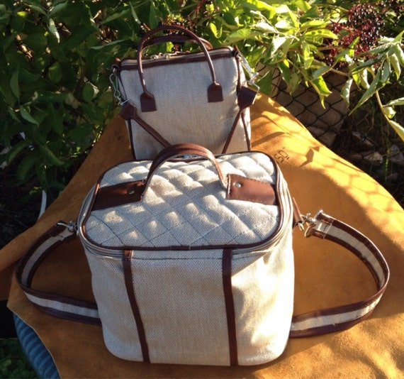 Quality  Hand Made Travel Vanity Set Matching  Pair BAG /s  Beige Canvas and Brown Leather contrast  Trim