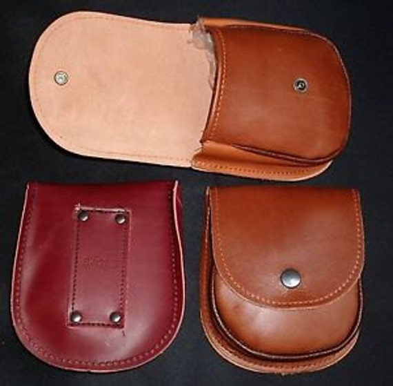 "Large Dark Tan;Light Tan,; Mid Brown, Dark Brown  LEATHER  POUCH / CASE/ Bushcraft, Phone,Pellets / 70mm 2.75"" Belt Loop/Bacsew"