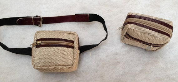 Small HIP Square Waist POUCH /Beige Italian canvas / Burgundy trim / with adjustable  Extended BELT or Belt  Loop / Ideal for Men or Women