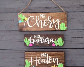Custom Name Desk Plaque with Cacti and Succulents, Cactus Teacher Gift, Custom Hand Painted Teacher Gift, Custom Cactus Name Plaque