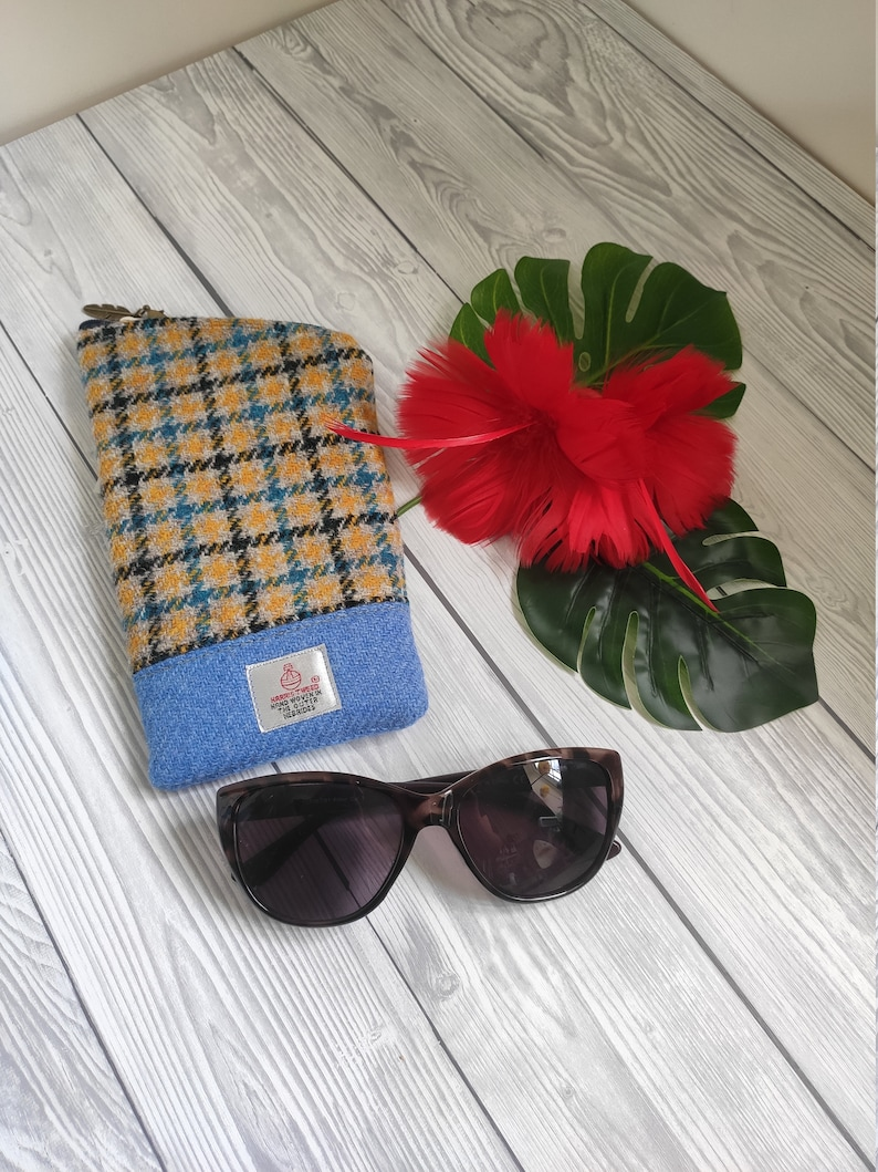 Harris Tweed Accessory Cases. Suitable for sunglasses specs Blue/yellow check