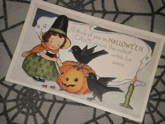 Used Vintage Halloween Greetings Postcard Little Girl Witch  9f0a7cd2cd92