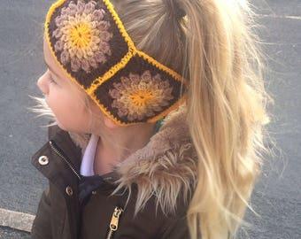 Granny square Ear Warmers in Autumn colours