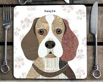 Beagle Dog Personalised Placemat/coaster