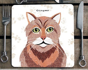 Ginger Cat personalised placemat/coaster