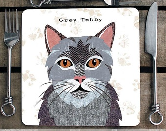 Grey Tabby Cat personalised placemat/coaster