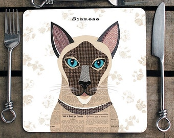 Siamese Cat personalised placemat/coaster