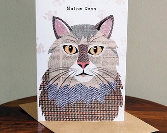 Maine Coon cat greetings card