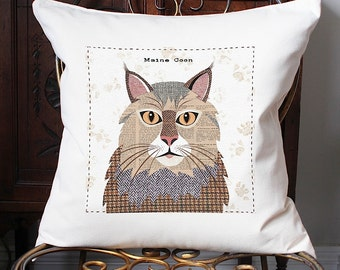 Maine Coon cat personalised cushion cover