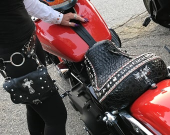 Leather motorcycle hip bag with belt,studs and bling