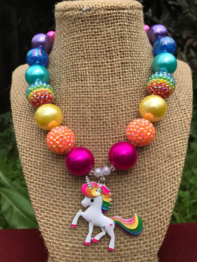 Rainbow Chunky Necklace Unicorn Chunky Necklace Rainbow Unicorn Necklace