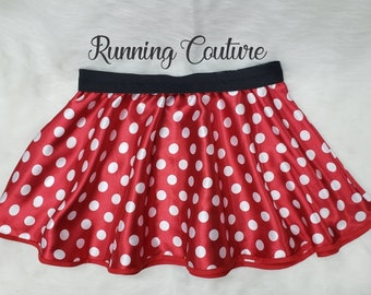 81b022df2 New Red Minnie Mouse inspired Women's satin skirt. RED and white polka dot.  Timeless Minnie