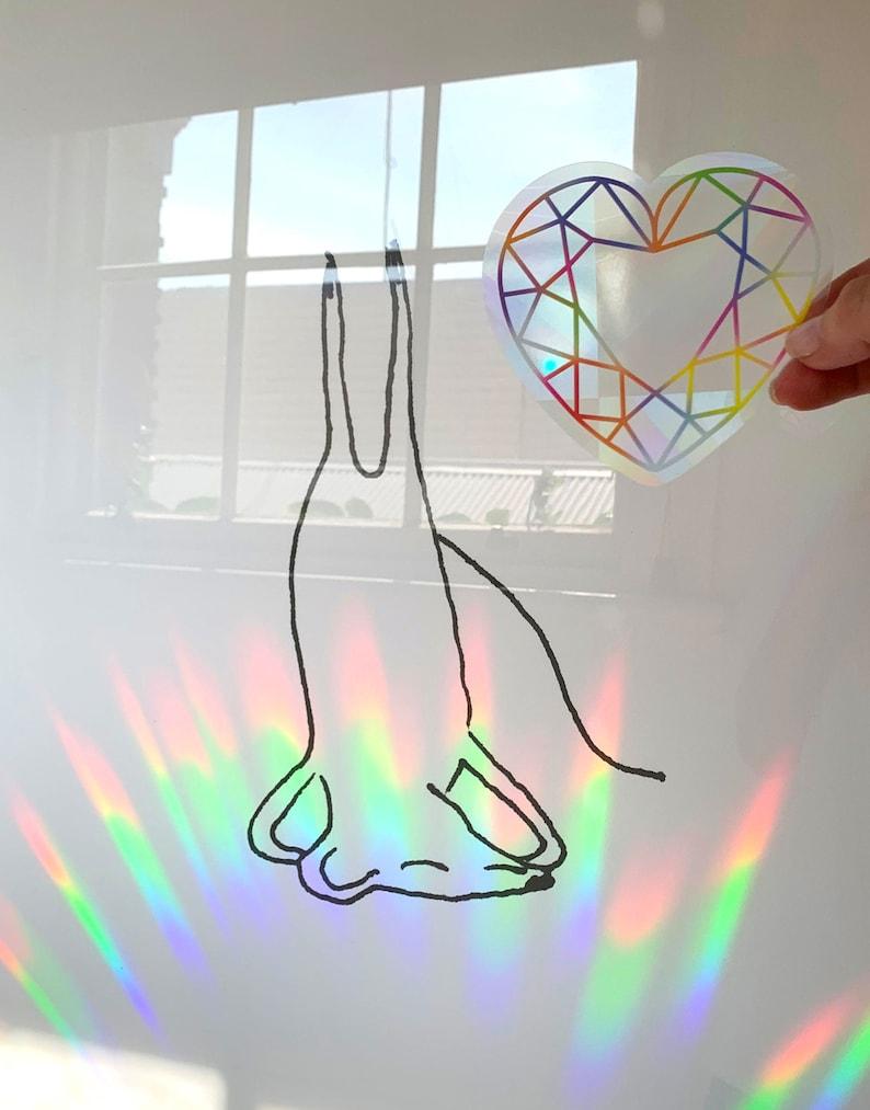 Heart Gemstone Sticker Rainbow Sticker Sun Catcher Sticker Light Catcher Crystal Sticker Holographic Sticker Sun Catcher Decal