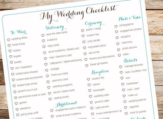 digital wedding checklist organization bridal to do list etsy