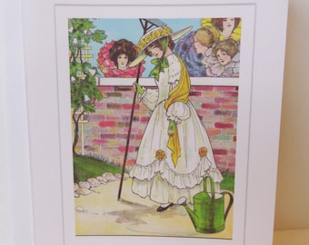 Mary, Mary, Quite Contrary-Vintage Original Mother Goose Illustration-Blank Card