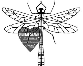 Magic dragonfly, Printable 5x5 Digital Stamp