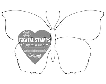Butterfly, Printable 5x5 Digital Stamp