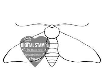 Moth, Printable 5x5 Digital Stamp