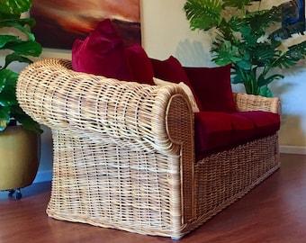 Vintage Mohair Indoor Wicker Rattan Oversized Loveseat By Wicker Works