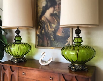PAIR of Very Large Mid Century / Hollywood Regency Green Glass Blown Table Lamps