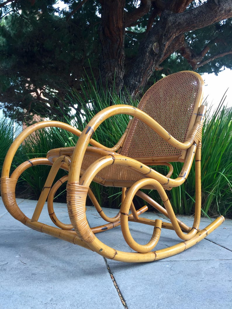 Fabulous Mid Century Bentwood Bamboo Caned Rattan Rocking Chair Gmtry Best Dining Table And Chair Ideas Images Gmtryco
