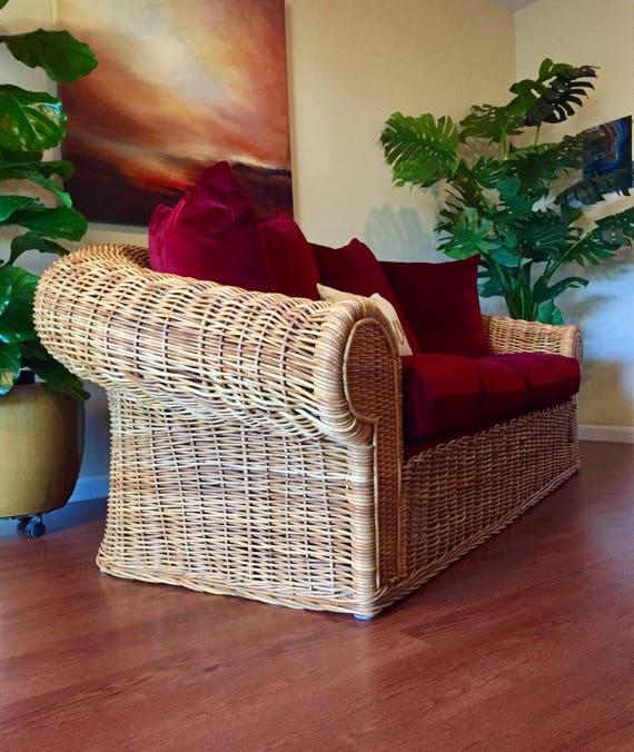 Astounding Sold Vintage Mohair Indoor Wicker Rattan Oversized Loveseat By Wicker Works Short Links Chair Design For Home Short Linksinfo