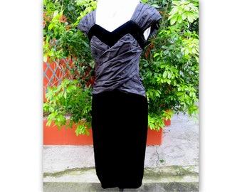 CHRISTIAN DIOR black dress with silk velvet straps, size 38-40