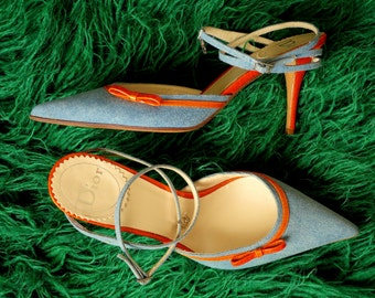 CHRISTIAN DIOR shoes in jeans and orange leather, size 39.5, sharp