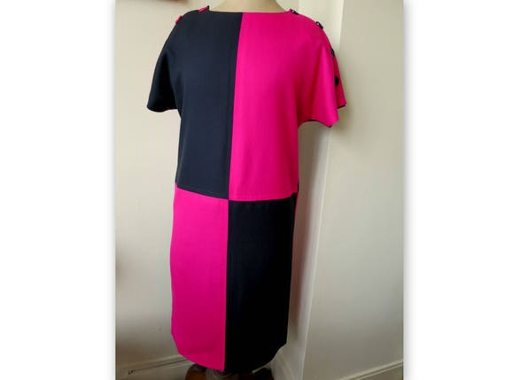 Dress Céline Paris 80s black and pink
