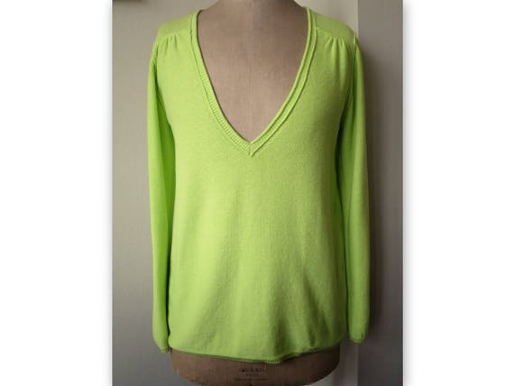 Bonpoint sweater, size L, cotton, neon green