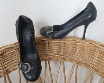 CHRISTIAN DIOR shoes heels black leather, size 37.5, round ends