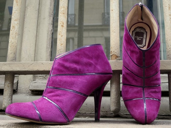 CHRISTIAN DIOR pink suede boots