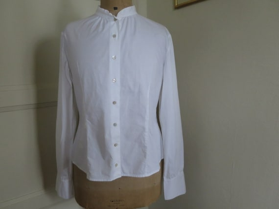 Blouse white CHRISTIAN DIOR, fitted, cotton