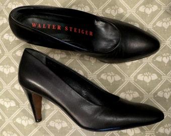 Escarpins en cuir noir WALTER STEIGER pointure 35 BE