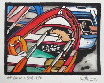 Watercolor Linocut Art Print Cat Boats 6x8 Original Lino Hand Colored