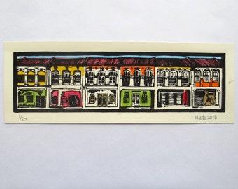Penang Malaysia Georgetown Original Linocut Color Print (3x12inches)