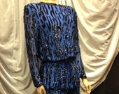 Lillie Rubin Silk 2-Piece Cobalt Blue With Black Sequins and Beads