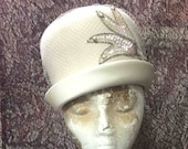 Hat Cream Felt, Vintage With Satin Brim, Netting, Sequin Trim