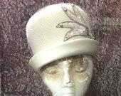 Hat Cream Felt, Vintage With Satin Brim, Netting, Sequin Trim