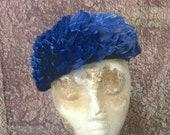 Vintage Feather Hat, Cobalt Blue