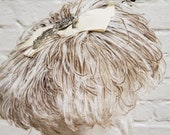 Vintage Ostrich Feather Hat John Wanamaker Label Phoenix Brooch