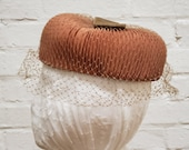 Vintage Hat Pleated Copper Colored Fabric with Netting and Velvet Bow