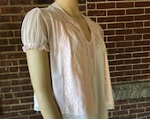 Vintage Sheer Pink Bed Jacket with Lace