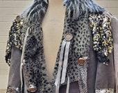 "Gun Metal Grey Silver Turquoise Mardi Gras King ""Warrior Against Superstition"""