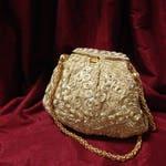 Vintage Walborg Evening Purse Gold Cord Swirls With Mirror