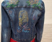 "Hand Embroidered Denim Jacket Small/Medium ""Bee Hive Jacket"""