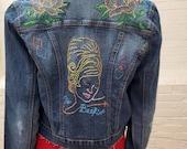 "Hand Embroidered Denim Jacket Small/Medium ""Bee Hive Jacket"""